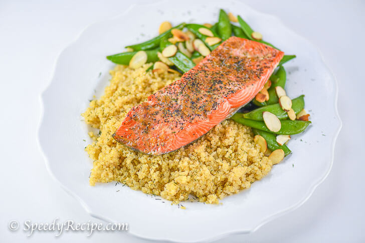 Oven Baked Salmon with Quinoa Roasted Pecan and Snap Peas