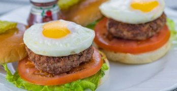 Bigger Than A Slider Grilled Mini Burger with Egg Lettuce and Tomato